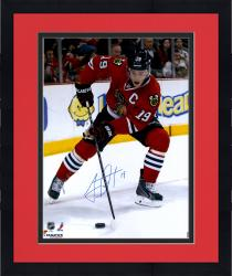 "Framed Jonathan Toews Chicago Blackhawks Autographed 16"" x 20"" Vertical Red Uniform Photograph"