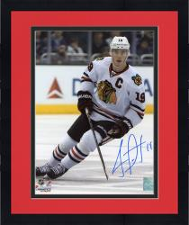 Framed Jonathan Toews Chicago Blackhawks Autographed 8'' x 10'' Vertical White Uniform Photograph
