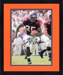 Framed Kevin Jones Virginia Tech Hokies Autographed 8'' x 10'' Both Feet Off Ground Photograph