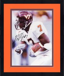 Framed Kevin Jones Virginia Tech Hokies Autographed 8'' x 10'' White Jersey Side View Photograph