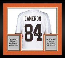 Framed Jordan Cameron Cleveland Browns Autographed Nike Replica White Jersey
