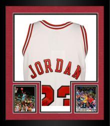 Framed Jordan, Michael Auto (bulls) (white/97-98) (m&n)jersey (uda)