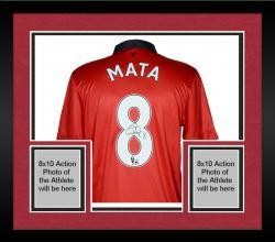 Framed Juan Mata Manchester United Autographed Red Back Jersey