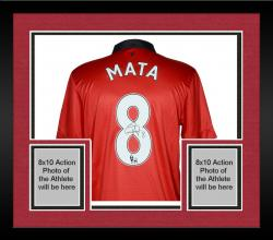 Framed Juan Mata Manchester United Autographed Red Back Jersey