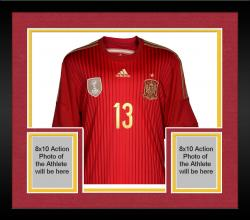 Framed Juan Mata Spain Autographed Red Back Jersey