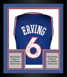 "Framed Julius Erving Philiadelphia 76ers Autographed Adidas Swingman Blue Jersey with ""1981 NBA MVP"" Inscription"