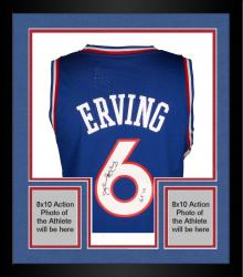 "Framed Julius Erving Philiadelphia 76ers Autographed Adidas Swingman Blue Jersey with ""HOF 93"" Inscription"