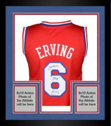 Framed Julius Erving Philiadelphia 76ers Autographed Adidas Swingman Red Jersey