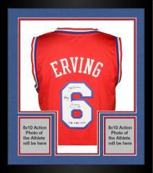"Framed Julius Erving Philiadelphia 76ers Autographed Adidas Swingman Red Jersey with ""1981 NBA MVP"" Inscription"