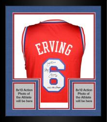 "Framed Julius Erving Philiadelphia 76ers Autographed Adidas Swingman Red Jersey with ""1983 NBA Champs"" Inscription"