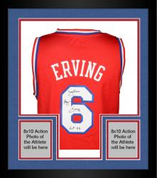 "Framed Julius Erving Philiadelphia 76ers Autographed Adidas Swingman Red Jersey with ""HOF 93"" Inscription"
