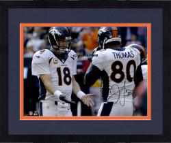 Framed Julius Thomas Denver Broncos Autographed 16'' x 20'' Low Five With Peyton Manning Photograph with TD #51 12/23/13 Inscription