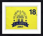 Framed Justin Leonard Autographed 2003 Olympia Fields US Open Pin Flag