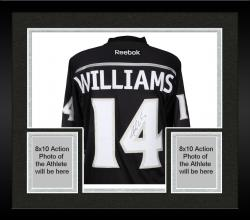 Framed Justin Williams Los Angeles Kings 2014 Stanley Cup Champions Autographed Black Reebok Premier Jersey