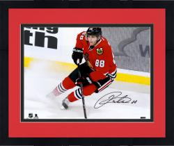 "Framed Patrick Kane Chicago Blackhawks Autographed 16"" x 20"" Red Jersey Stopping Photograph"
