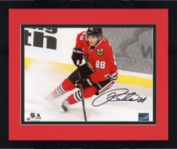 "Framed Patrick Kane Chicago Blackhawks Autographed 8"" x 10"" Red Jersey Stopping Photograph"