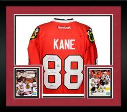 """Framed Patrick Kane Autographed Blackhawks Jersey """"Multi"""