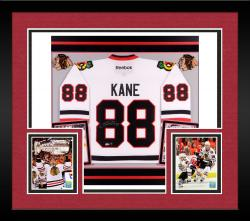 Patrick Kane Autographed Blackhawks Premier Jersey - Deluxe Framed