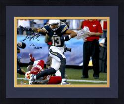 "Framed Keenan Allen San Diego Chargers Autographed 16"" x 20"" Stiff Arm Photograph with Go Bolts Inscription"