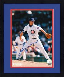 Framed Kerry Wood Chicago Cubs Autographed 8'' x 10'' Pitching White Uniform Photograph