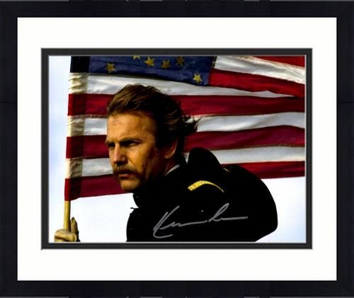 """Framed Kevin Costner Autographed 11"""" x 14"""" Dances With Wolves - Holding American Flag Photograph - Beckett COA"""