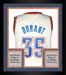 Framed Kevin Durant Oklahoma City Thunder Autographed Adidas Swingman White Jersey