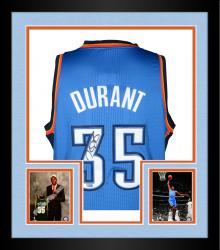 Framed Kevin Durant Oklahoma City Thunder Autographed Authentic Blue Jersey