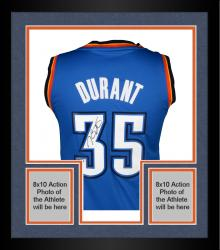 Framed Kevin Durant Oklahoma City Thunder Autographed Blue Replica Jersey