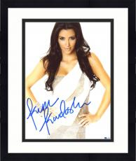"Framed Kim Kardashian Autographed 8"" x 10"" Posing in Silver Dress with Hands on Hips Photograph - Beckett COA"