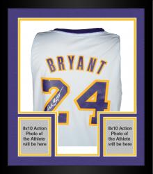 Framed Kobe Bryant Los Angeles Lakers Autographed Adidas Swingman White Jersey -