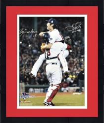 "Framed Koji Uehara & David Ross Boston Red Sox 2013 World Series Champions Autographed 16"" x 20"" Celebration Photograph with Last Out Inscription"
