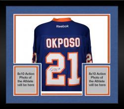 Framed Kyle Okposo New York Islanders Autographed Blue Reebok Premier Jersey