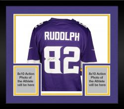 Framed Kyle Rudolph Minnesota Vikings Autographed Nike Replica Purple Jersey