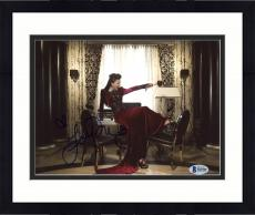"""Framed Lana Parrilla Autographed 8"""" x 10"""" Once Upon A Time Posing On Desk Photograph - Beckett COA"""