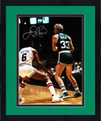 Framed Larry Bird Boston Celtics Autographed 16'' x 20'' with Julius Erving Photograph