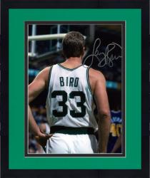 Framed Larry Bird Boston Celtics Autographed 8'' x 10'' Vertical Buckshot Photograph