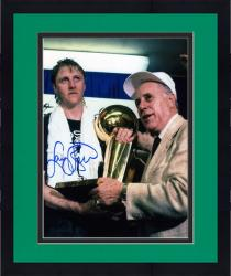 Framed Larry Bird Boston Celtics Autographed 8'' x 10'' with Red Auerbach Photograph
