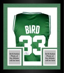 Framed Larry Bird Boston Celtics Autoraphed Adidas Swingman Jersey