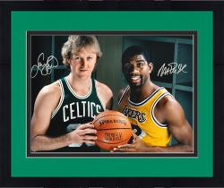 Framed Larry Bird & Magic Johnson Autographed 16'' x 20'' Gold Pose Photograph