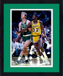 "Framed Larry Bird Boston Celtics & Magic Johnson Los Angeles Lakers Dual Autographed 16"" x 20"" Looking Up Photograph"