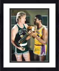 Framed Larry Bird & Magic Johnson Team USA Autographed 16'' x 20'' Gold with Trophy Photograph