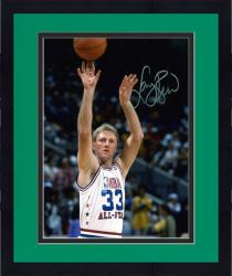 Framed Larry Bird NBA All-Star Team Autographed 8'' x 10'' Jump shot Photograph