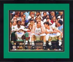 Framed Larry Bird/Robert Parrish/Kevin McHale Autographed 16'' x 20'' Bench Photograph