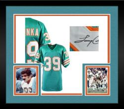 Framed Larry Csonka Miami Dolphins Autographed Teal Custom Jersey