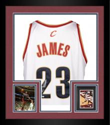 Framed LeBron James Cleveland Cavaliers White Autographed Jersey with Youngest Player to Score 1000 Points Inscription - UDA