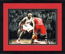 "Framed LeBron James Miami Heat Autographed 16"" x 20""Photograph vs. Derrick Rose"