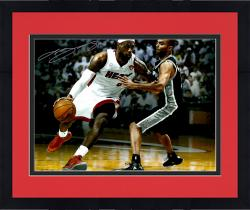Framed LeBron James Miami Heat Autographed 16'' x 20'' vs. Tony Parker Photograph