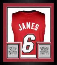 Framed LeBron James Miami Heat Autographed adidas Authentic Red Jersey