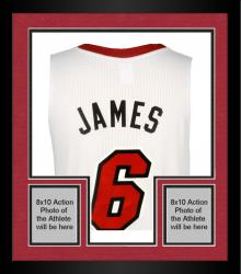 Framed LeBron James Miami Heat Autographed Jersey with 13 Finals MVP 25.3 PPG Inscription-Limited Edition of 25