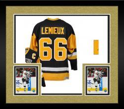 Framed Mario Lemieux Autographed Penguins Jersey